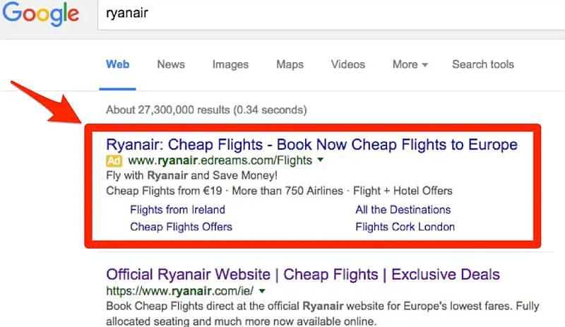 google search oglas primer